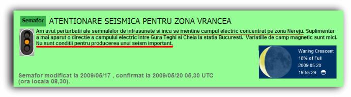 Semaforul sesimic este pe cod portocaliu; Centrul de Avertizare Seismică
